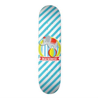 Circus Elephant on Ball; Baby Blue & White Stripes Skate Board Decks
