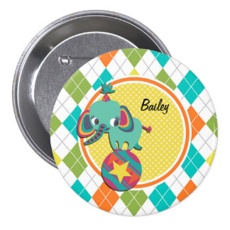 Circus Elephant on Colorful Argyle Pattern Pinback Button