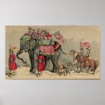 Circus Elephants and Horses Print