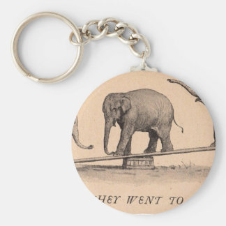 circus elephants basic round button key ring