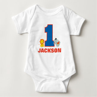 Circus First Birthday Outfit, Baby Jersey Bodysuit