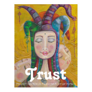 Circus Girl Jester  Carnival Postcard TRUST Quote