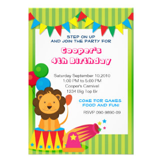 Circus Lion Birthday invite
