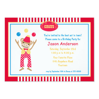 Circus Monkey Birthday Invitation