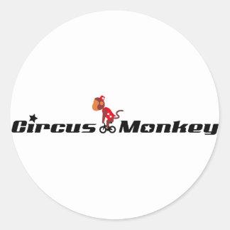 Circus Monkey Round Sticker