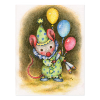 Circus Mouse Cute Clown Juggler Animal Postcard