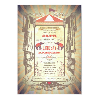 Circus or Vintage Carnival Birthday Party Card