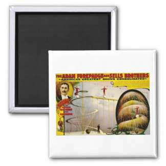 Circus Performance Vintage 1899 Poster Square Magnet