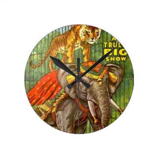 Circus Poster Round Clock