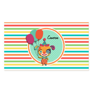 Circus Puppy Bright Rainbow Stripes Business Card Templates