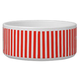 Circus Red and White Cabana Stripes Dog Bowls