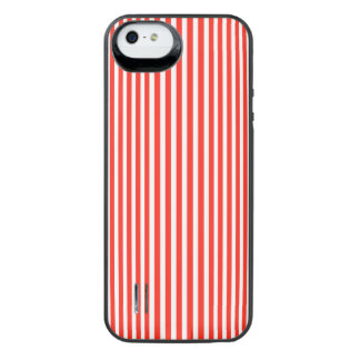 Circus Red and White Cabana Stripes iPhone SE/5/5s Battery Case