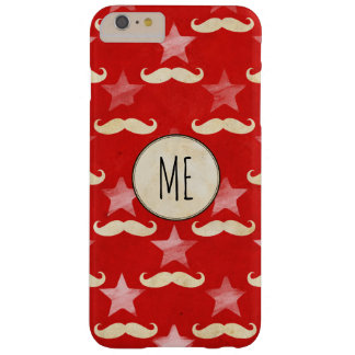 Circus Red iPhone case with Stars and moustaches Barely There iPhone 6 Plus Case