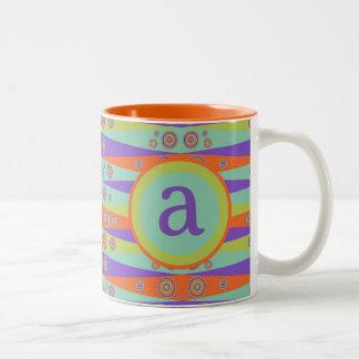 Circus Ribbons Monogram Two-Tone Coffee Mug