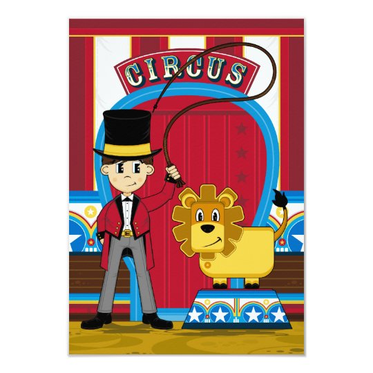Circus Ringmaster and Lion RSVP Card