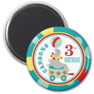 Circus Seal Birthday 6 Cm Round Magnet