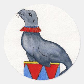 Circus Seal Round Sticker