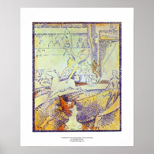 Circus sketch art by Seurat pointillist paintings Print