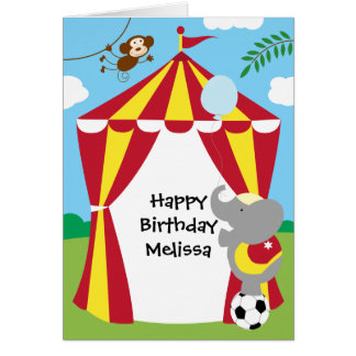 Circus Tent and Animals Birthday Card