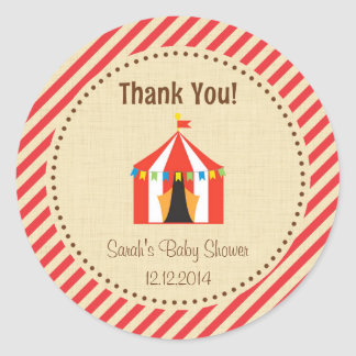 Circus Tent Baby Shower Sticker Red Stripes