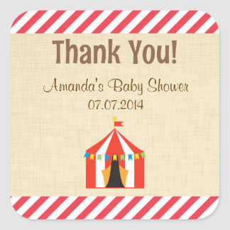 Circus Tent Baby Shower Thank You Stickers