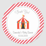 Circus Tent Baby ShowerThank You Sticker Red