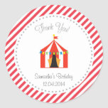 Circus Tent Birthday Thank You Sticker Red