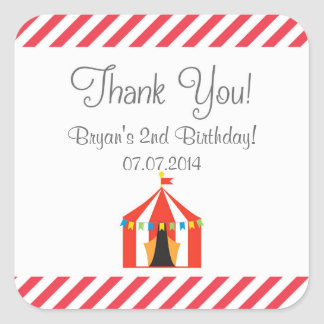 Circus Tent Birthday Thank You Stickers