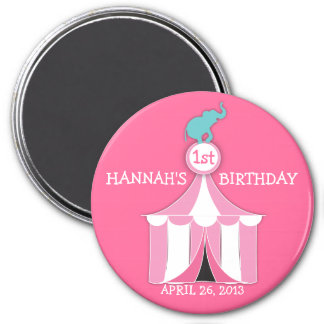 Circus Tent & Elephant Girls Birthday Party Magnet