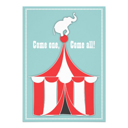 Circus Tent & Elephant Kids Birthday Party Cards