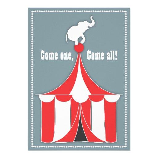 Circus Tent & Elephant Kids Birthday Party Invitations