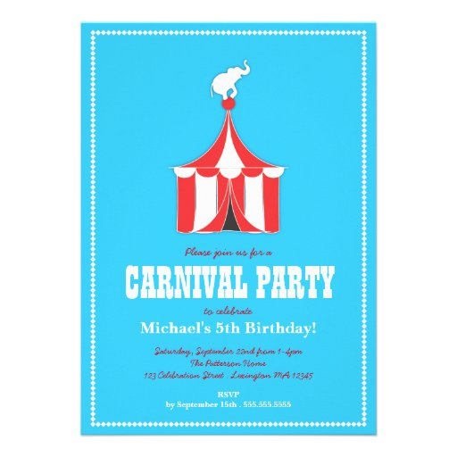 Circus Tent & Elephant Kids Birthday Party Personalized Invites