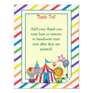 Circus Thank You Note 11 Cm X 14 Cm Invitation Card
