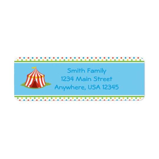 Circus Theme | Circus Tent |  Personalised Return Address Label