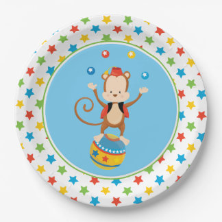 Circus Theme | Juggling Monkey | Personalized Paper Plate