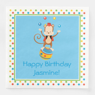 Circus Theme | Monkey | Personalized Disposable Napkins