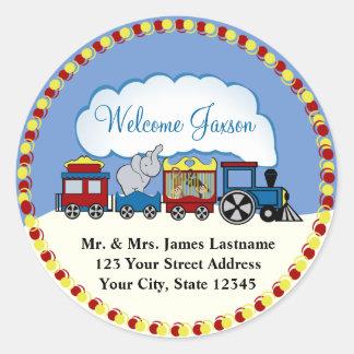 Circus Train Address Round Sticker