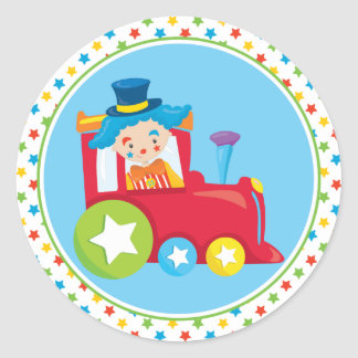 Circus Train | Clown Classic Round Sticker