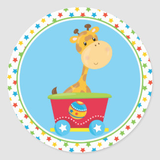 Circus Train | Giraffe Round Sticker