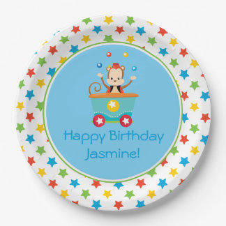 Circus Train | Juggling Monkey | Personalized Paper Plate