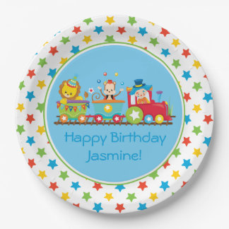 Circus Train   Monkey   Lion   Clown  Personalized Paper Plate