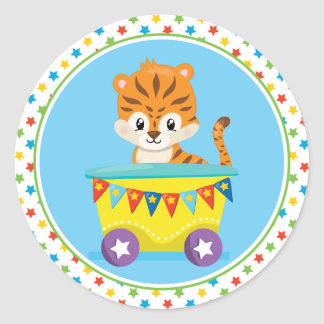Circus Train | Tiger Round Sticker