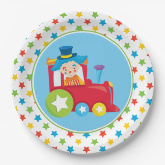 Circus Train | Train Engine with Clown 9 Inch Paper Plate