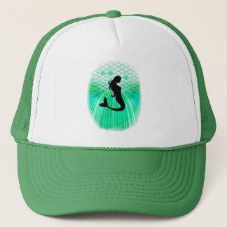 cirlce mermaid silhouette trucker hat