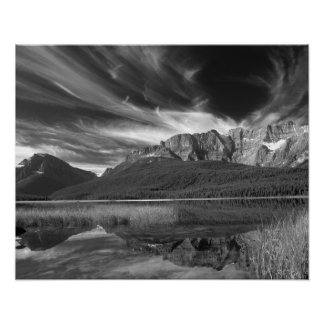 Cirrus clouds over Waterfowl Lake, Banff Poster