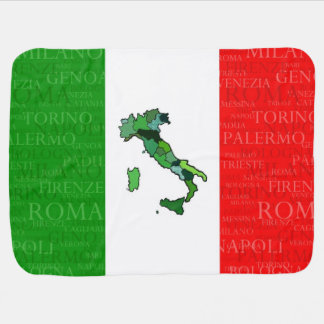 Cities, Map, and Flag of Italy Baby Blanket
