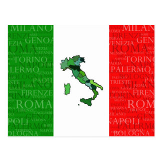 Cities, Map, and Flag of Italy Postcard