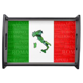Cities, Map, and Flag of Italy Serving Tray