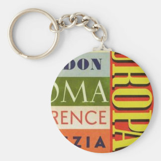 Cities of Europe Basic Round Button Key Ring