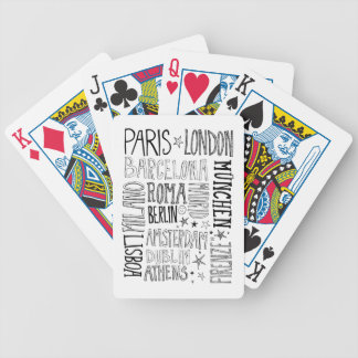 Cities of Europe Chic Modern Typography City Gifts Bicycle Playing Cards